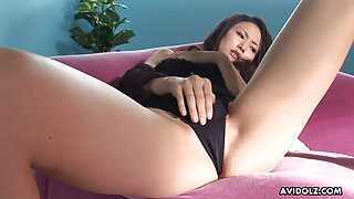 Japanese Risa is using a tiny vibrator uncensored